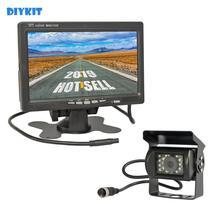 DIYKIT شاشة سيارة عالية الدقة مع رؤية خلفية TFT LCD مقاس 7 بوصات ، مع 4pin ، رؤية ليلية بالأشعة تحت الحمراء CCD ، كاميرا احتياطية للسيارة ، حافلة ، شاحنة ، 12 فولت 24 فولت تيار مستمر