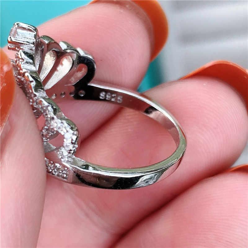 Choucong โรแมนติกมงกุฎแหวน 925 เงินสเตอร์ลิง AAAAA CZ งานแต่งงานแหวนสำหรับเจ้าสาวของขวัญเครื่องประดับนิ้วมือ