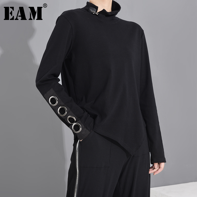 [EAM] Women Black Hollow Out Asymmetrical Split Joint T-shirt New Stand Collar Long Sleeve  Fashion Spring Autumn 2020 1M87401 1