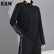 [EAM] Women Black Hollow Out Asymmetrical Split Joint T-shirt New Stand Collar Long Sleeve  Fashion Spring Autumn 2021 1M87401