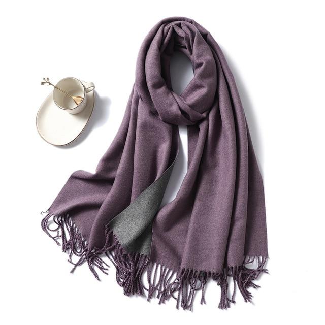 Winter Cashmere Scarf Women Thick Warm Shawls Wraps Lady Solid Scarves Fashion Tassels Pashmina Blanket quality foulard 2020 New 2