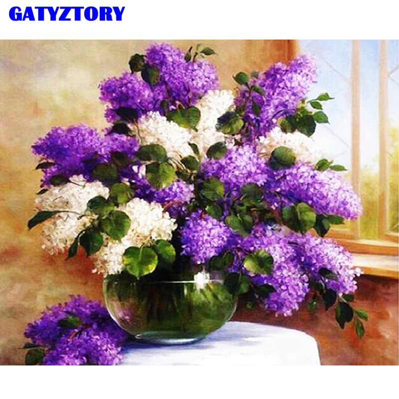 GATYZTORY Framed DIY Painting By Numbers Handpainted Oil Painting Lavender Fowers Kits Paint By Numbers Modern Wall Art Picture