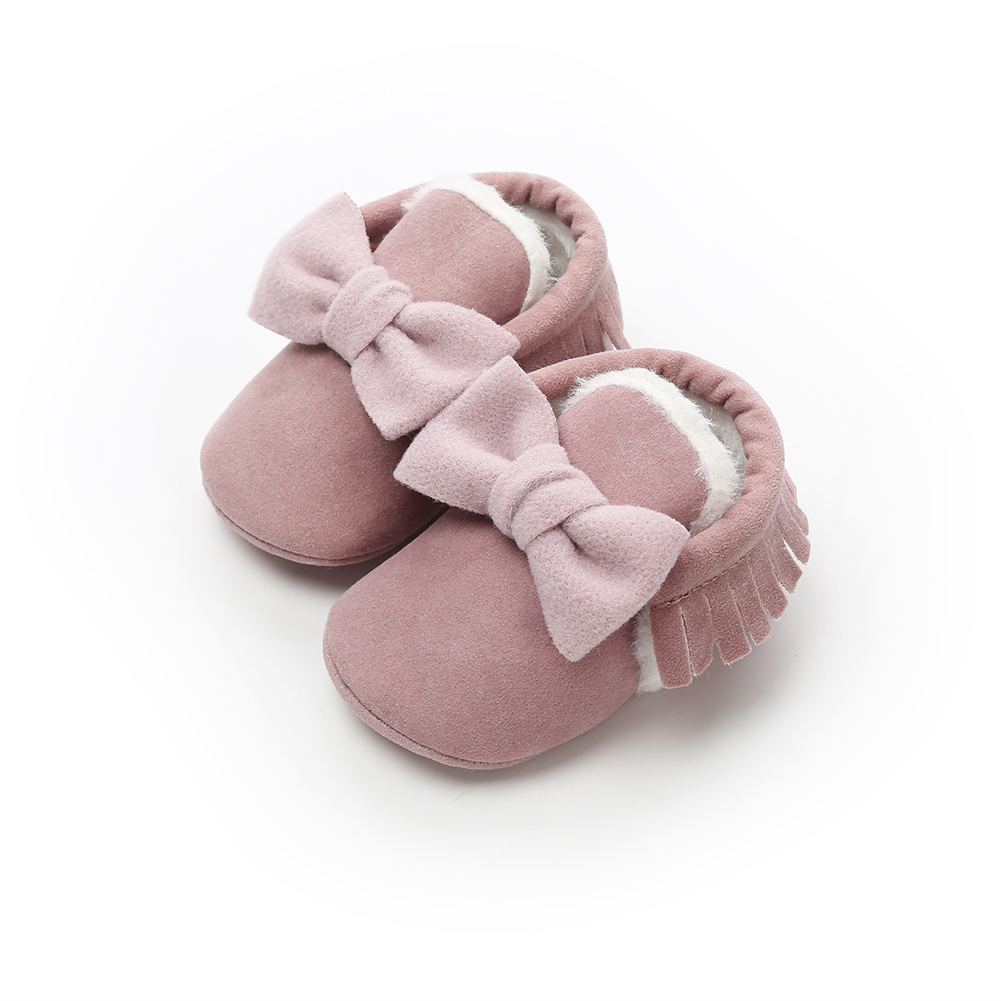 2020 Brand New Infant Toddler Newborn Baby Girl Boy Fringe Shoes Winter Warm Furry Leather Bowknot Solid Crib First Walker 0-18M