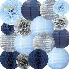NICROLANDEE 16 pcs/set Blue Silver Paper Lanterns Flowers Birthday Anniversary Wedding Decoration Party Home DIY Decor