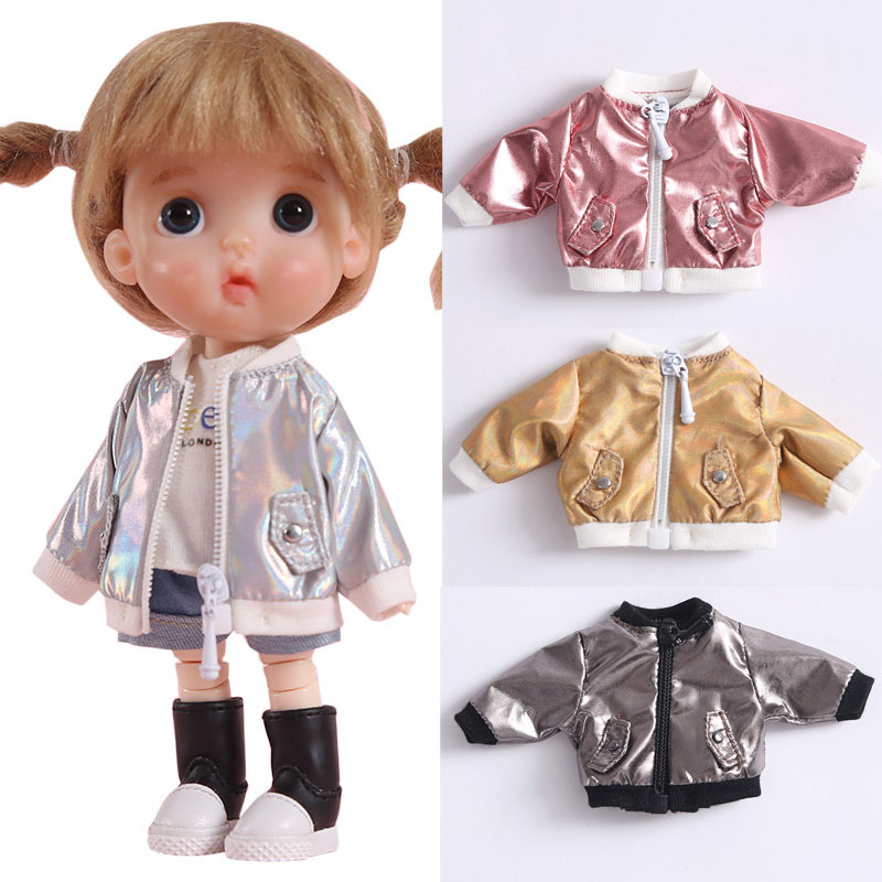 Ob11 Baby Clothes Laser Jacket 1/8 BJD Baby Coat GSC Plain Molly  Round Is The Head Of The Girl Doll Clothes Accessories