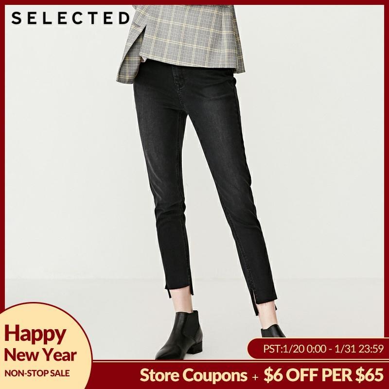 SELECTED Women's Slight Stretch Lycra High-rise Irregular Skinny Jeans C|419132532