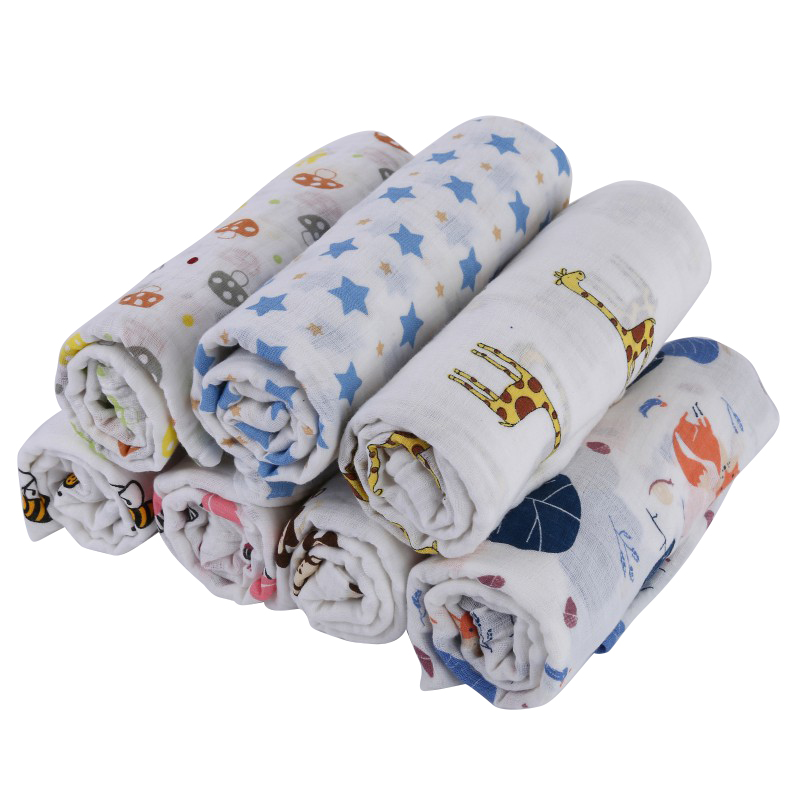 Newborn Cotton Blanket & Swaddling Baby Muslin Cotton Soft Baby Bath Towel Cartoon Blankets Baby Pacifier