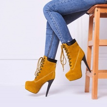 Platform Stiletto Heels Lace Up Ankle Boots Women Fall Short Boots Round Toe Nubuck Balanced Shoes Stylish Solid Winter Shoes lovely hello kitty round toe platform heels sweet princess lolita cosplay lace up winter boots