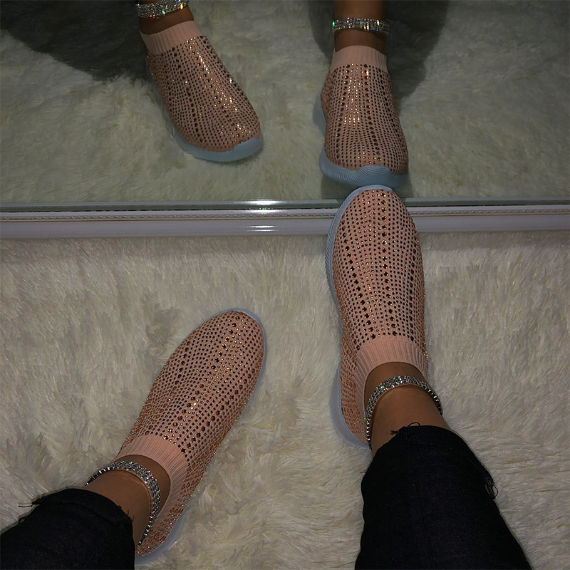 Women Flats Sneakers Shoes 2020 Spring Moccasin Fashion Crystal Knitting Sock Shoes Woman Flats Slip On Loafers Ladies Shoes