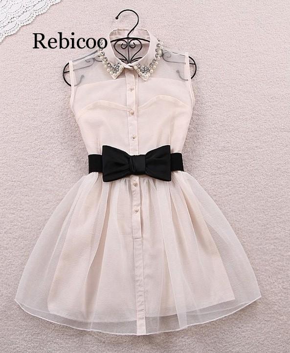 Bow Belt Spring Summer  New Fashion Sweet Pearl Diamond Lapel Waist Sleeveless Tank Vest Dress Gauze Tutu