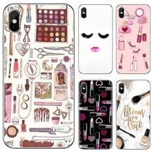 Capa mole MAQUIAGEM Perfume Batom Make up Para Samsung Galaxy A10 A40 A50 A70 A3 A5 A7 A9 A8 A6 Mais 2018 2015 2016 2017