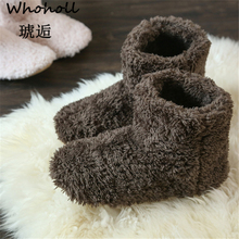 цена на Whoholl Brand 2019 Wholesale Women Plush Home Shoe Coral Fleece Indoor Floor Sock Winter Foot Warmer Soft Bottom Slippers 38-40