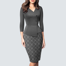 Autumn Elegant Classic Patchwork Grid Bodycon dress Retro Chic Business pencil dress HB564