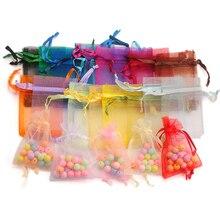 100 יח\חבילה אורגנזה תיק 5*7 סנטימטר, 7*9cm,9x12cm חג המולד חתונה שקית ממתקי שקיות מתנת שקיות תכשיטי אריזת תצוגת 23 צבעים