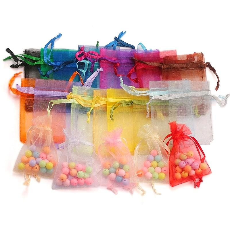 100 pçs/lote 5*7 cm, 7*9 cm, 9x12cm saco de organza saco de presente de casamento de natal doces embalagem de jóias sacos de presente bolsas 23 cores