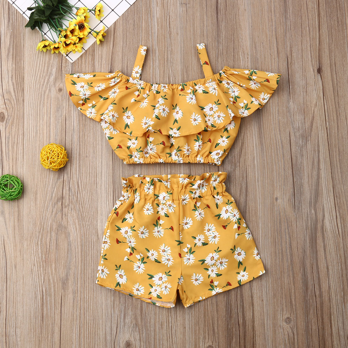 Pudcoco Newest Fashion Summer Toddler Baby Girl Clothes Off Shoulder Ruffle Sling Crop Tops Short Pants 2Pcs Outfits Clothes