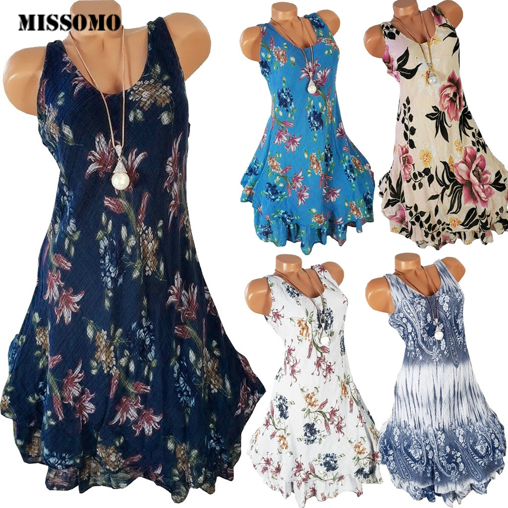 MISSOMO Plus Size Dress Women Female Sleeveless O-neck 2 Layered Print Summer Sun Dress Mini Dress Tank Vest Sun Dress Vestidos