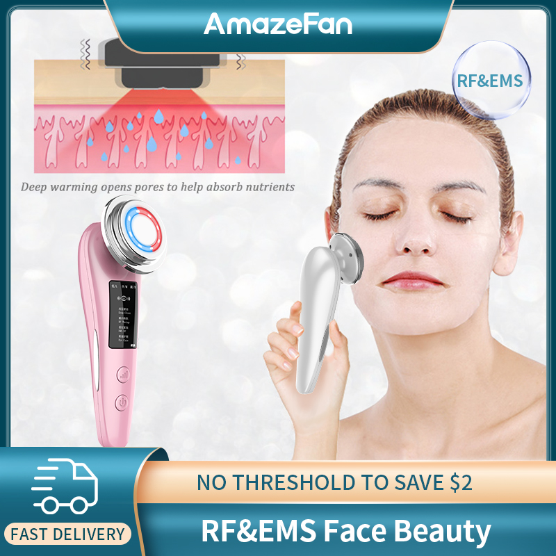 AmazeFan RF&EMS Skin Care Beauty Machine Deep Facial Cleansing Massager Hot Compress Rejuvenation Remover Wrinkle Lifting Device
