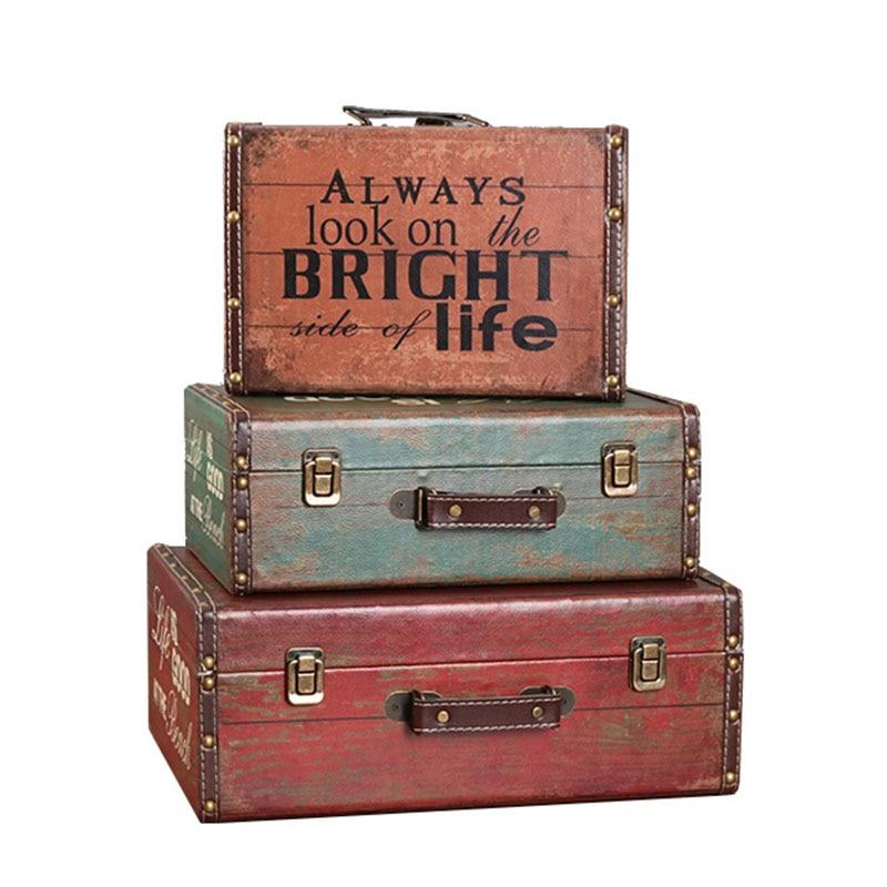 Artesanato vintage retrô, caixa de madeira decoração de malas, adereços de decoração de loja, exibição de mesa, figurinhas de artigos diversos