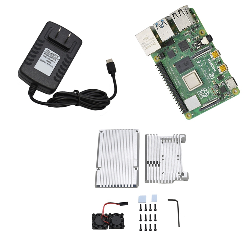 For Raspberry Pi 4 Model B 4G RAM Kit With Aluminum CNC Alloy Protective Case Cooling Dual Fan 5V 3A Power Adapter
