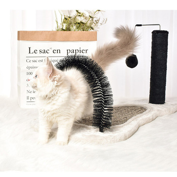 Cat Arch Self Groomer Massage 2 in 1 Cat Scratching Post Hanging Toy and Heavy Base Pet Puppy Scratcher Toys Fur Grooming Brush