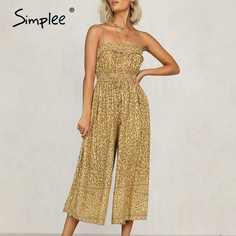 Simplee Spaghetti Straps Leopard Women Jumpsuits Bohemian Casual Snatch Female Romper Holiday Beach Ladies Summer Overalls 2020