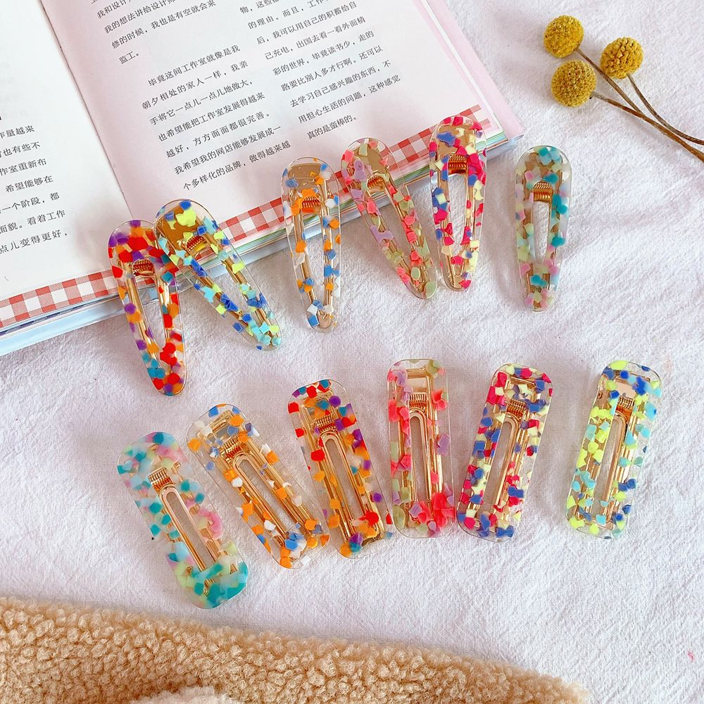 1pcs Women Colorful Acrylic Hollow Waterdrop Shape Hair Clips Girls Acetate Hairpins Barrettes For Girls Gift Hair Styling Tools