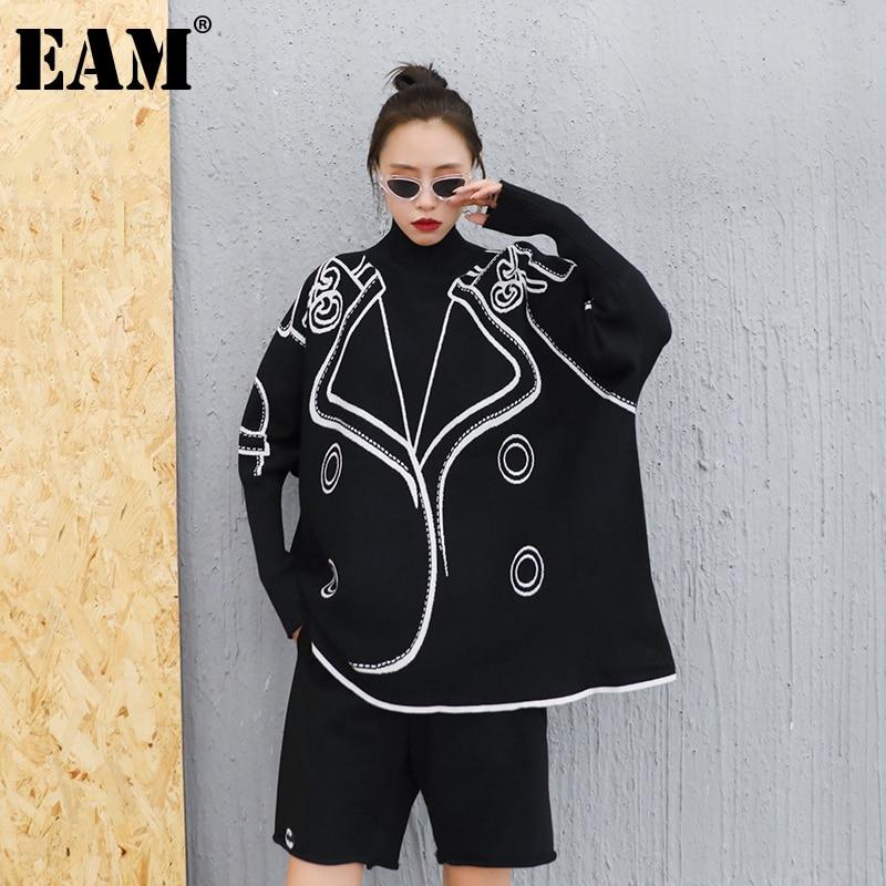 [Eem] siyah desen büyük boy örgü balıkçı yaka kazak gevşek Fit uzun kollu kadınlar yeni moda gelgit sonbahar kış 2021 1DB862