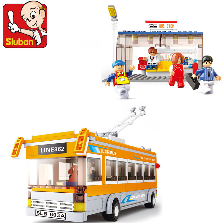 Sluban B0332 City Trolley Bus Station Tram Car Vehicle DIY Building Blocks Toy