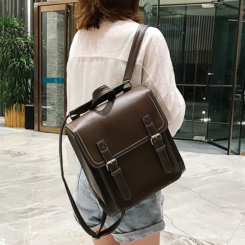 Vintage Backpack Female Pu Leather Bag Women's Backpack Fashion School Bag For Girls High Quality Leisure Shoulder Bag Sac A Dos