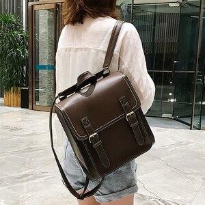 Image 1 - Vintage Backpack Female Pu Leather Bag Womens Backpack Fashion School Bag for Girls High Quality Leisure Shoulder Bag Sac A Dos