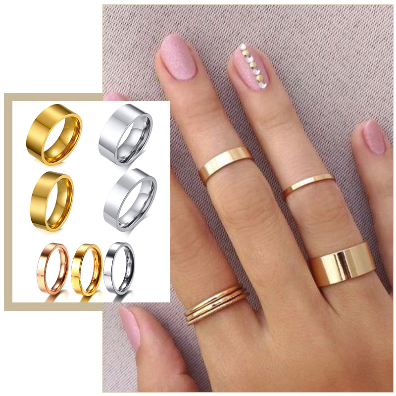 Women's Simple Minimalist Wedding Bands Rings 2/4/6/8 mm Wide Stainless Steel Party Birthday Gifts for Her Finger Jewelry(China)