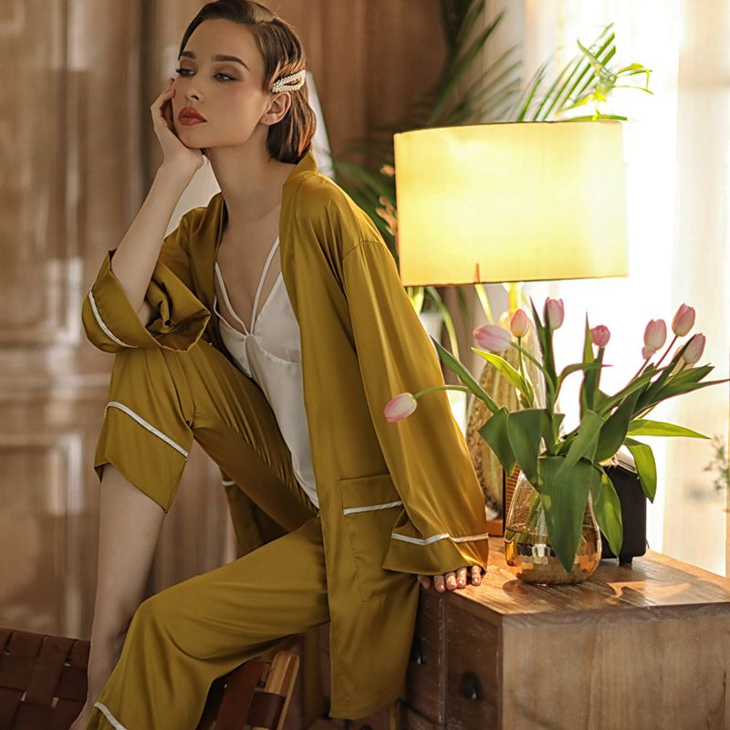 Youhottest Silk Pajamas Sets Women Sexy  Robe Cami Pants Robe