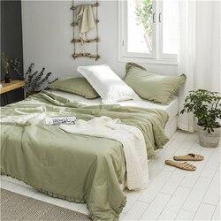 Księżniczka styl bawełna myte bawełny letnia kołdra wygodne miękkie stałe kolor maszyna zmywalny bawełna cienka kołdra pościeli
