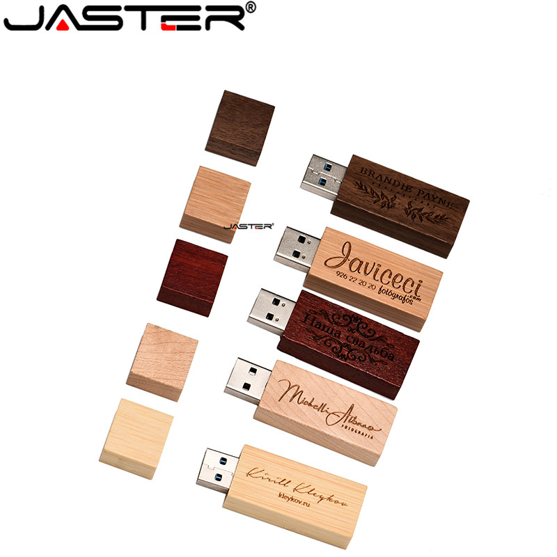 JASTER Walnut Wooden LOGO Wooden USB 2.0 Usb Stick 64GB USB Carbonized Bamboo LOGO Print Flash Drive 4GB 8GB 16GB 32GB Pendrive