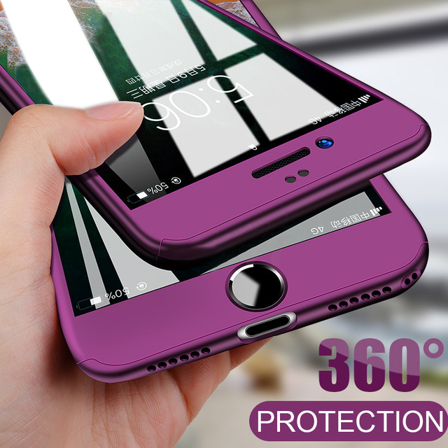 360 Full Cover Phone Case For iPhone X 8 6 6s 7 Plus 11 Pro Max PC Protective Cover For iPhone 7 5 5s XS MAX XR Case With Glass