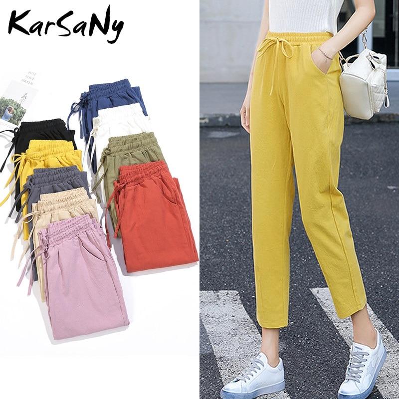 Linen Harem Pants Women Loose Sweatpants Casual Cotton Trousers Vintage High Waist Linen Cotton Capri Summer Pants For Women
