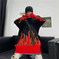 2021 new sweater female hip-hop style flame jacquard women's sweater traf couple pullover knit top loose men's sweater 2
