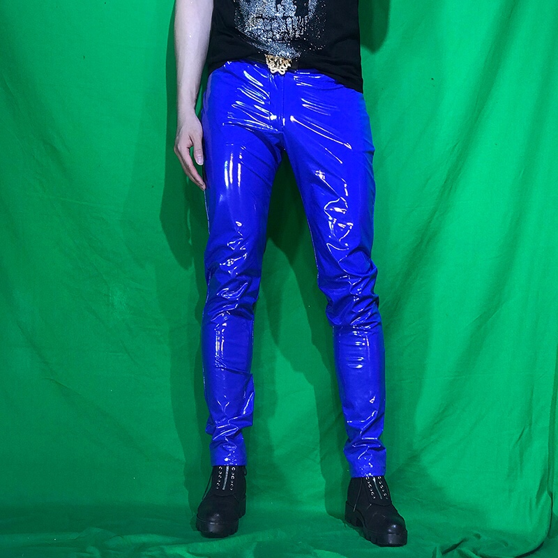 European And American Personality Men's PU Skinny Stretch Patent Leather Pants Nightclub Men's DJ Costumes PU Pants