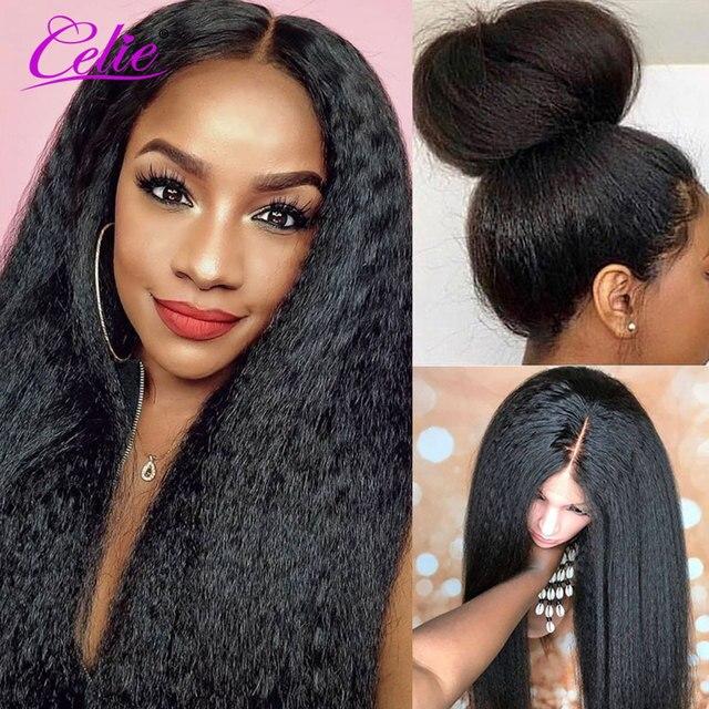 Kinky Thẳng Tóc Giả Celie Ren Mặt Trước Con Người Tóc Giả Cho Nữ Màu Đen Trước Nhổ 360 Ren Phía Trước Tóc Giả Glueless Con Người tóc Giả