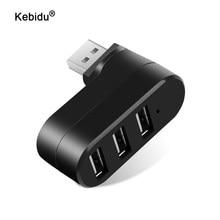 Kebidu – Hub USB 2.0 à 3 Ports, Mini adaptateur de répartiteur rotatif pour Mac PC portable USB 2.0