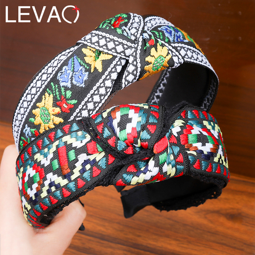 Levao Retro Embroidery Weaving Headband Ethnic Flower Print /Plaid Head Bezel Hairbands For Women Girls Hair Hoop Accessories