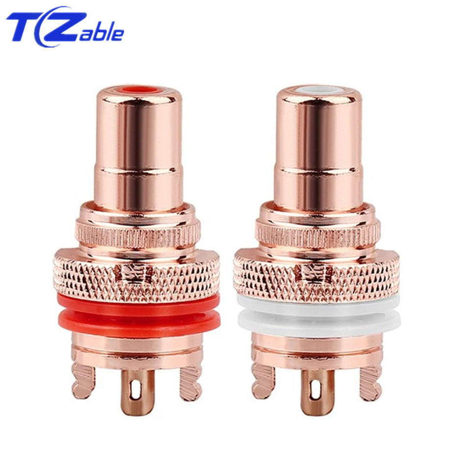 Image 2 - RCA Plug Connector Female Socket Chassis CMC Connectors Bright/Dumb Plated Copper Jack 32mm HiFi White Red Audio JacksPlug & Connectors   -
