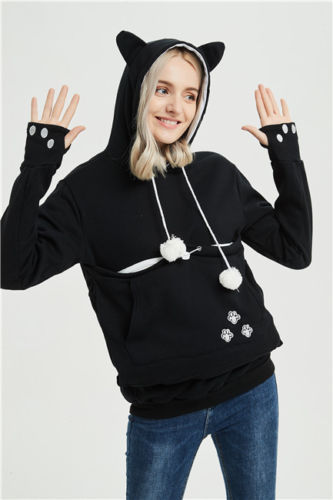 2019 fashion long sleeve casual hooded Kangaroo Pet Dog Cat Holder Carrier Pregnancy Coat loose Sweatshirt Pregnancy Pocket Top 4