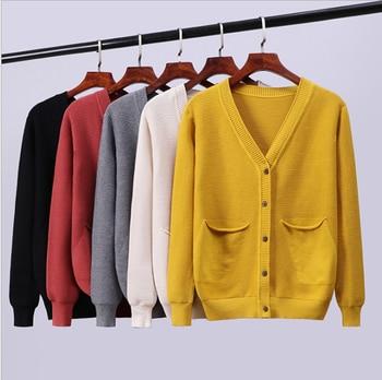 JINKAZI Women's sweater cardigan, autumn and winter 2020 Korean fashion versatile loose temperament pocket coat cut and sew panel pocket decoration coat