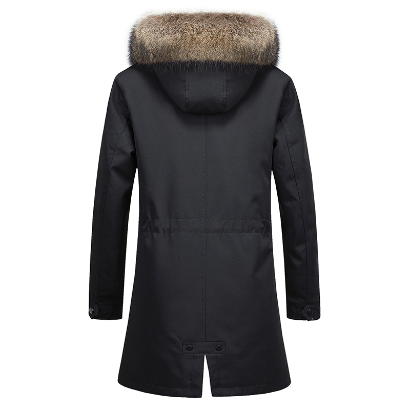 Real Men Natural Rabbit Liner Raccoon Fur Collar Hooded Warm Parka Plus Size Winter Coat SP12D9636E YY802