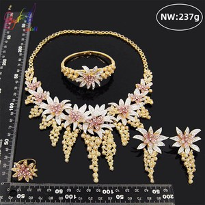 Image 3 - Yulaili New Hot African Female Costume Jewellery Gold Color Necklace Earrings Nigeria Wedding Jewelry Sets for Women Wholesale
