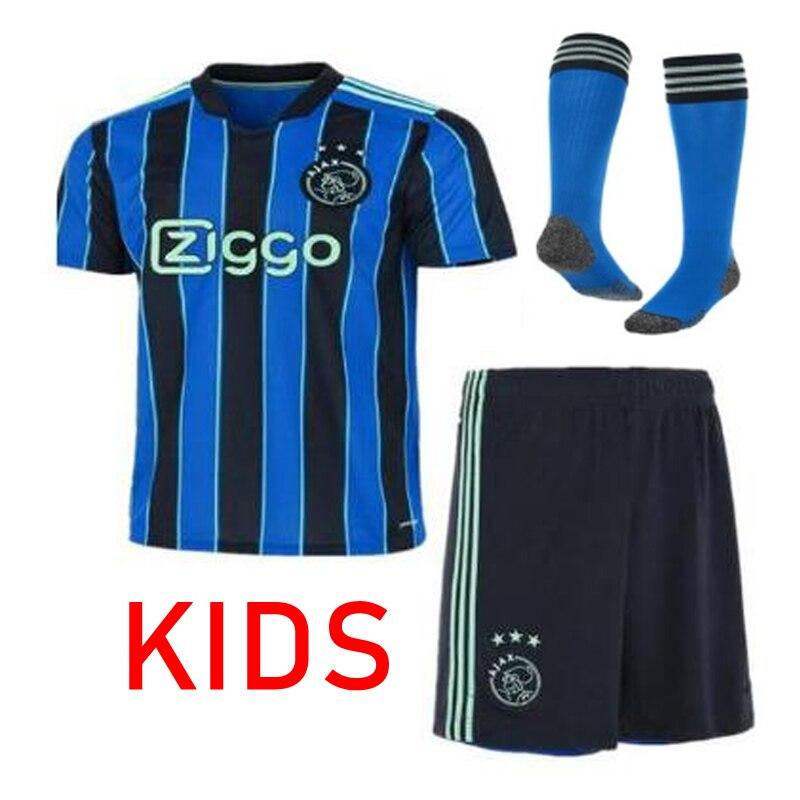 New ajaxES 2021 2022 blue kit jersey kids Away ANTONY BLIND HALLER ajaxed TADIC PROMES NERES HUNTELAAR children Football Shirt