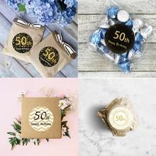 50th Adesivos Feliz Aniversário Decorações Do Partido 50 dias Crianças Adulto 50 Anos Festa de Aniversário Selo Etiquetas Da Etiqueta