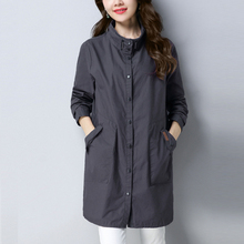 Mid-length Windbreaker Women Coat 2019 New Autumn Trench Women Coat Stand collar Casual Loose Coat Female Outerwear AN220